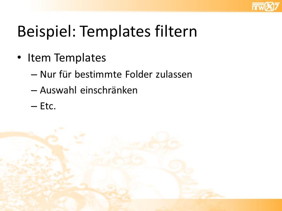 Beispiel: Templates filtern