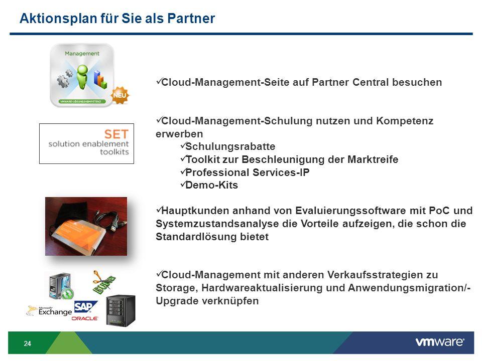 24 Aktionsplan für Sie als Partner Cloud-Management-Seite auf Partner Central besuchen Cloud-Management-Schulung nutzen und Kompetenz erwerben Schulungsrabatte Toolkit zur Beschleunigung der Marktreife Professional Services-IP Demo-Kits Hauptkunden anhand von Evaluierungssoftware mit PoC und Systemzustandsanalyse die Vorteile aufzeigen, die schon die Standardlösung bietet Cloud-Management mit anderen Verkaufsstrategien zu Storage, Hardwareaktualisierung und Anwendungsmigration/- Upgrade verknüpfen