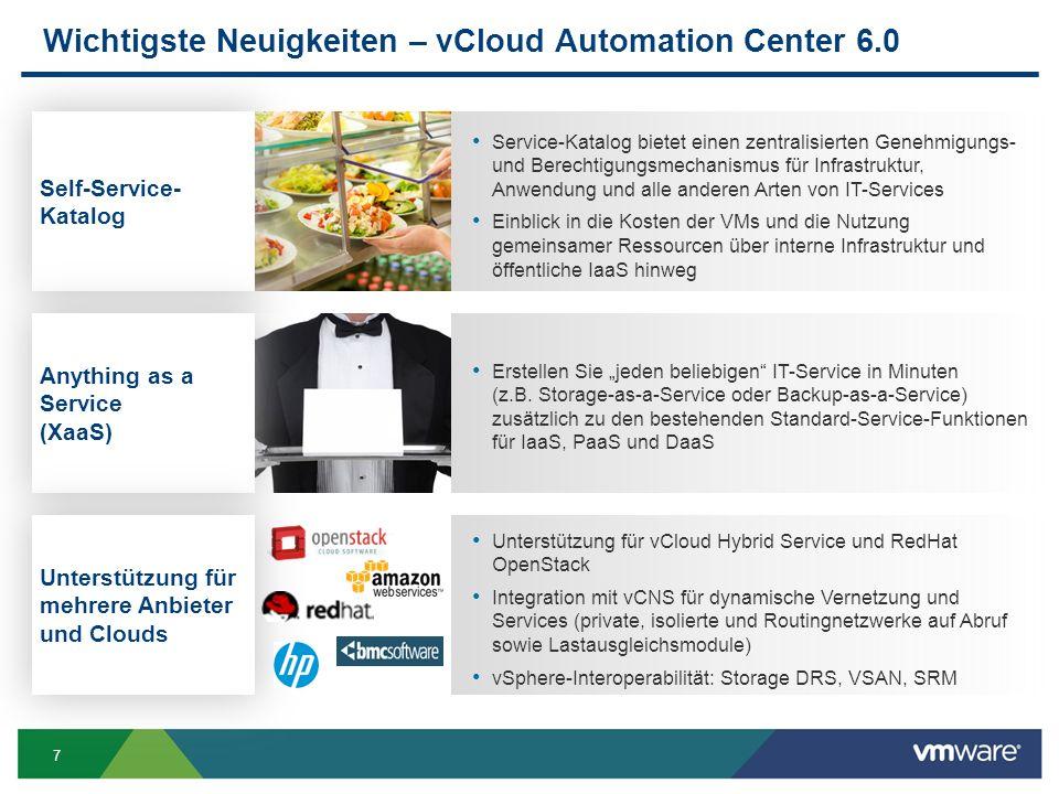 8 vCAC 6.0: Anwendungen schneller ausliefern - time2market DevProdTest vSpherevCloud CHANGE Wieder verwendbare Anwendungs Blueprints, zum Provisionieren, auch über hybride (Cloud) Umgebungen hinweg; Infrastruktur und seine Anwendungen gemäß Regularien flexibel ausrollen; Roll-back fähig; Bestehende Services einbinden; Cloud Marktplätze und -anbieter einbinden Mandantenfähig Überblick Bestehende Anwendungen als Service nutzbar machen; Anwendungsrelease Verfahren automatisieren; Unterstützt bzw.