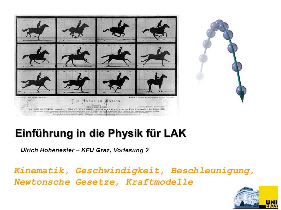 Ulrich Hohenester – KFU Graz, Vorlesung 2 Kinematik, Geschwindigkeit, Beschleunigung, Newtonsche Gesetze, Kraftmodelle Einführung in die Physik für LA