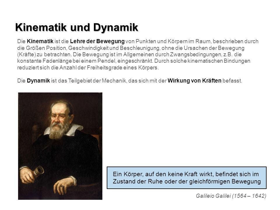 Kinematik und Dynamik Die Kinematik ist die Lehre der Bewegung von Punkten und Körpern im Raum, beschrieben durch die Größen Position, Geschwindigkeit