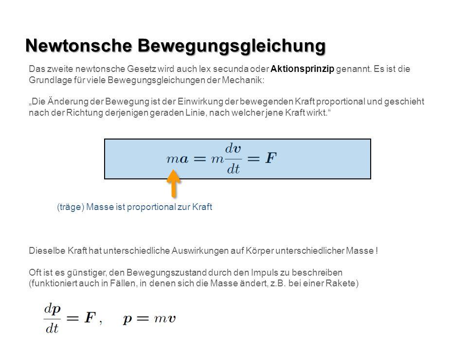 Newtonsche Bewegungsgleichung Das zweite newtonsche Gesetz wird auch lex secunda oder Aktionsprinzip genannt. Es ist die Grundlage für viele Bewegungs