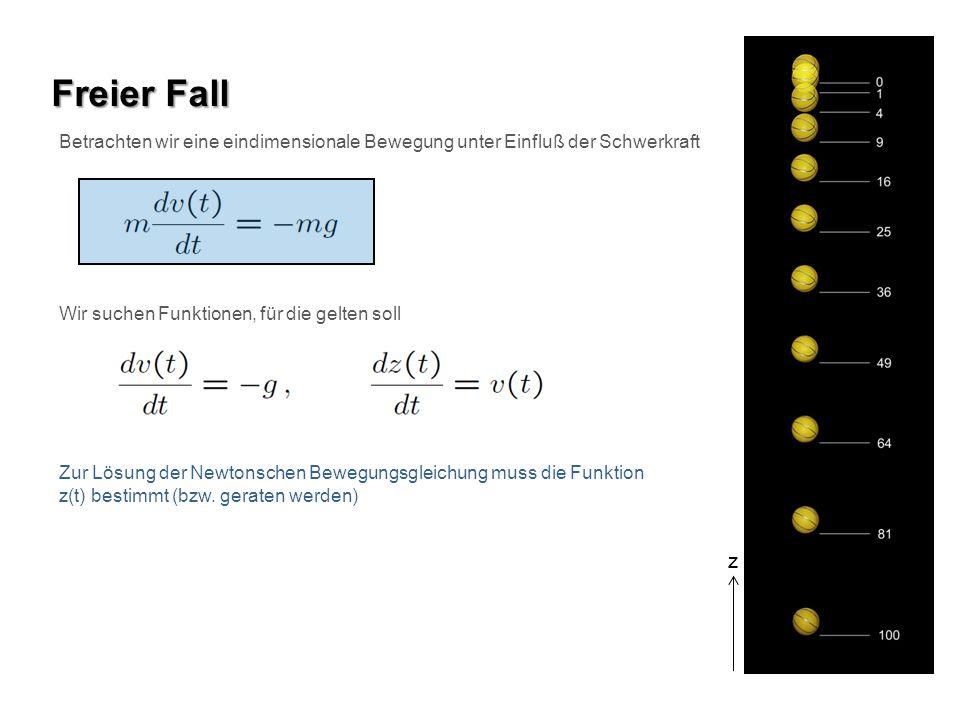 Freier Fall Betrachten wir eine eindimensionale Bewegung unter Einfluß der Schwerkraft z Wir suchen Funktionen, für die gelten soll Zur Lösung der New