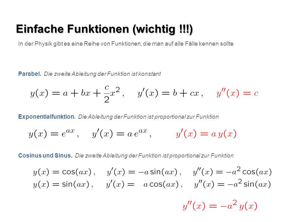 Einfache Funktionen (wichtig !!!) In der Physik gibt es eine Reihe von Funktionen, die man auf alle Fälle kennen sollte Parabel. Die zweite Ableitung