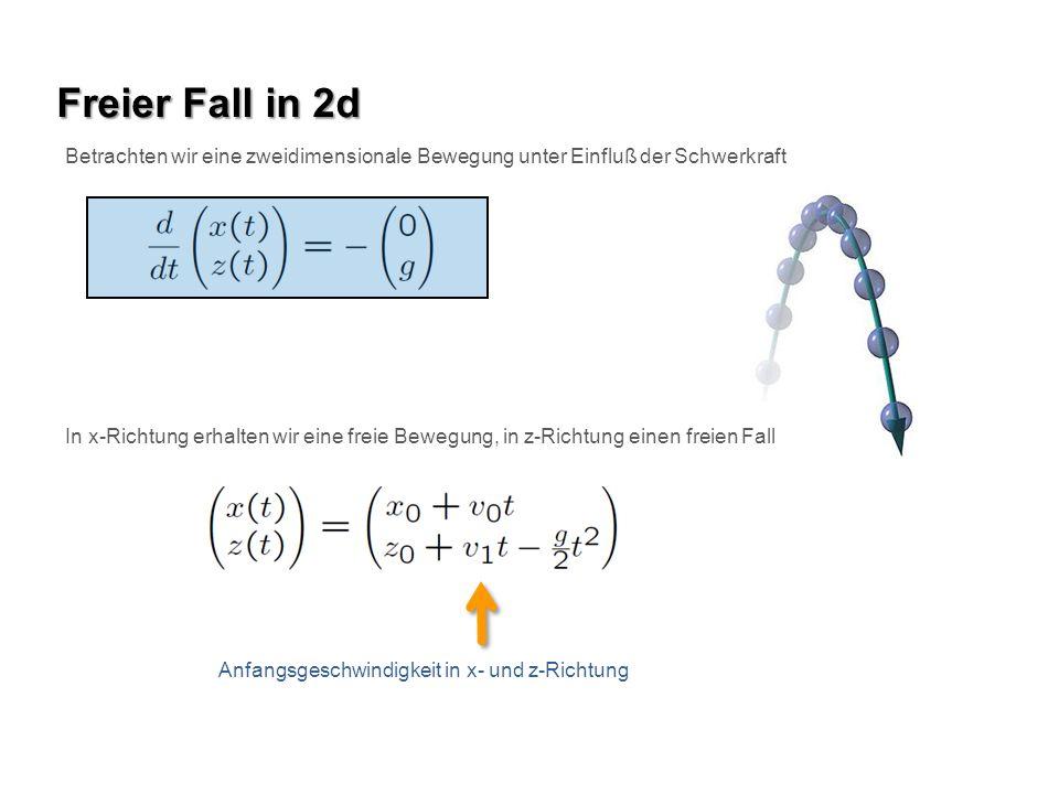 Freier Fall in 2d Betrachten wir eine zweidimensionale Bewegung unter Einfluß der Schwerkraft In x-Richtung erhalten wir eine freie Bewegung, in z-Ric