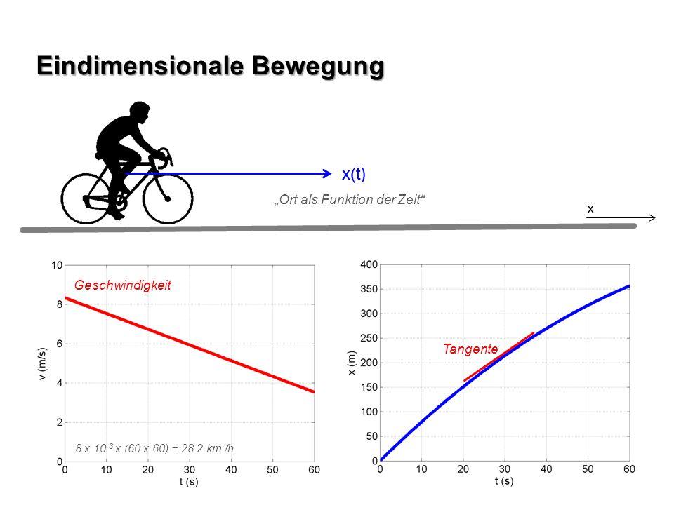 x(t ) Eindimensionale Bewegung Tangente x(t ) x Ort als Funktion der Zeit Geschwindigkeit 8 x 10 -3 x (60 x 60) = 28.2 km /h