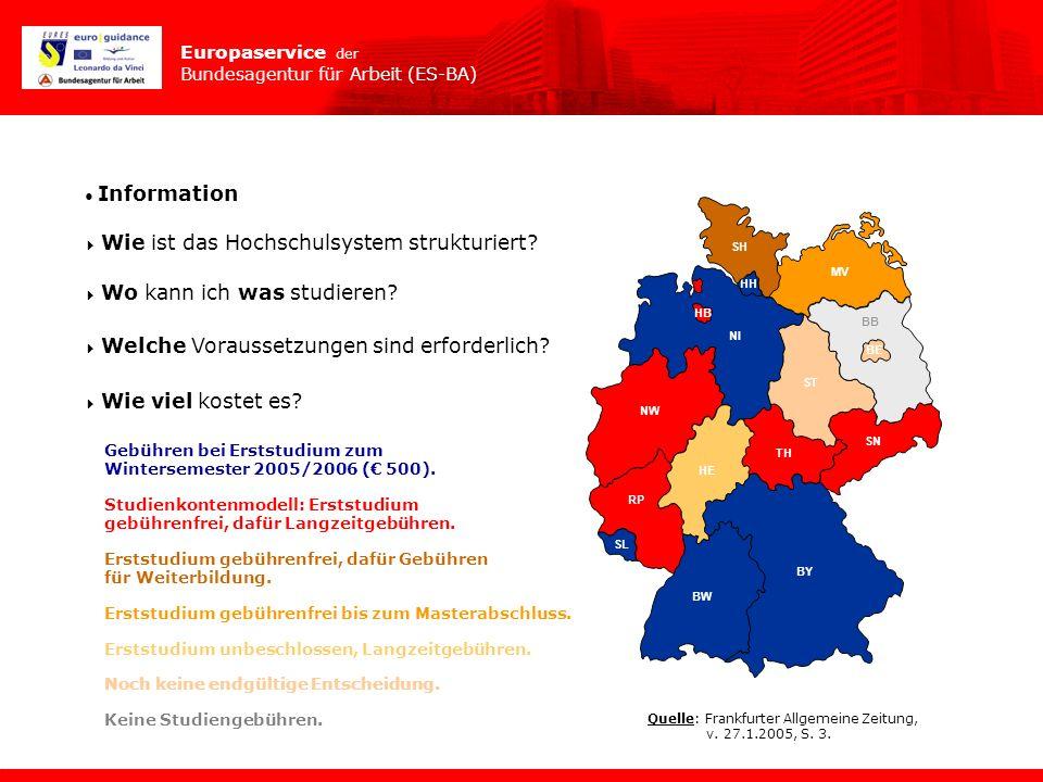 Europaservice der Bundesagentur für Arbeit (ES-BA) Information Wie ist das Hochschulsystem strukturiert? Wo kann ich was studieren? Welche Voraussetzu