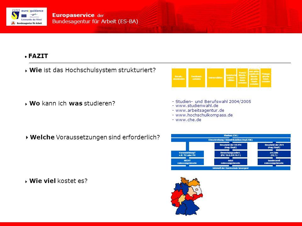 Europaservice der Bundesagentur für Arbeit (ES-BA) FAZIT Wie ist das Hochschulsystem strukturiert? Wo kann ich was studieren? Welche Voraussetzungen s