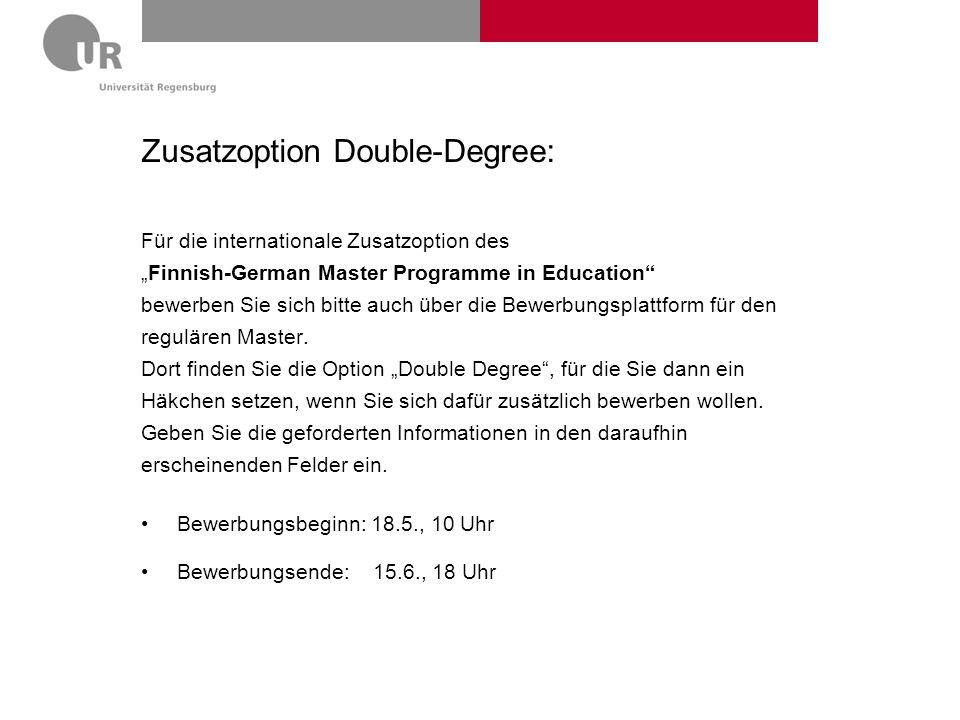 Zusatzoption Double-Degree: Für die internationale Zusatzoption des Finnish-German Master Programme in Education bewerben Sie sich bitte auch über die
