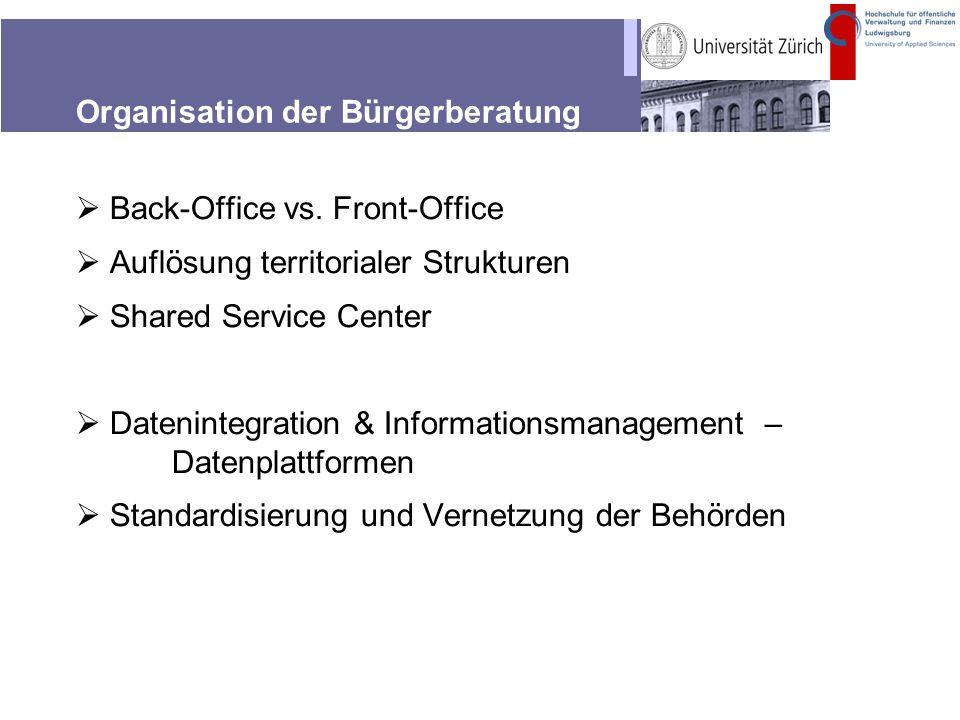 Organisation der Bürgerberatung Back-Office vs. Front-Office Auflösung territorialer Strukturen Shared Service Center Datenintegration & Informationsm