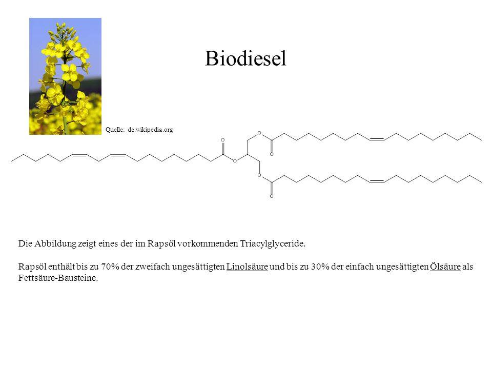 Biodiesel Die Abbildung zeigt eines der im Rapsöl vorkommenden Triacylglyceride. Rapsöl enthält bis zu 70% der zweifach ungesättigten Linolsäure und b