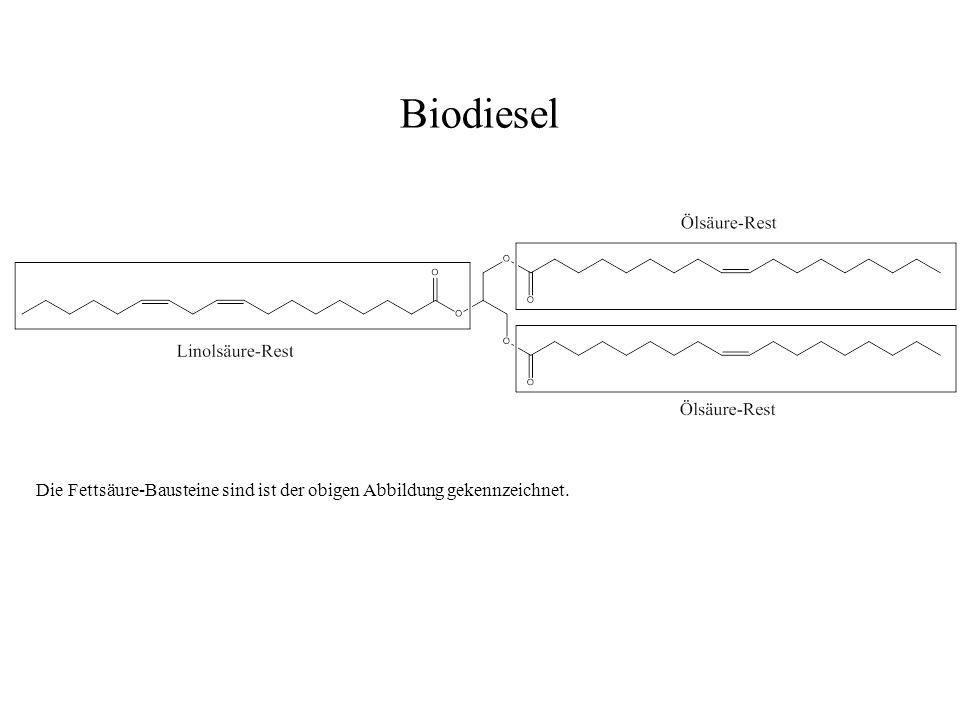 Die Fettsäure-Bausteine sind ist der obigen Abbildung gekennzeichnet. Biodiesel