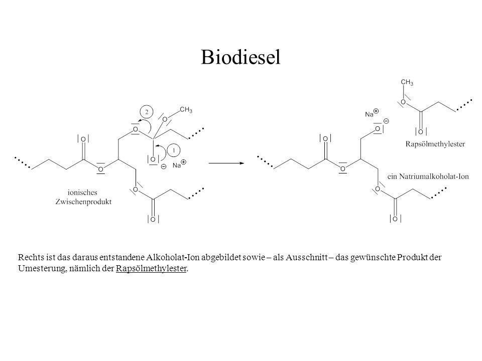 Rechts ist das daraus entstandene Alkoholat-Ion abgebildet sowie – als Ausschnitt – das gewünschte Produkt der Umesterung, nämlich der Rapsölmethylest