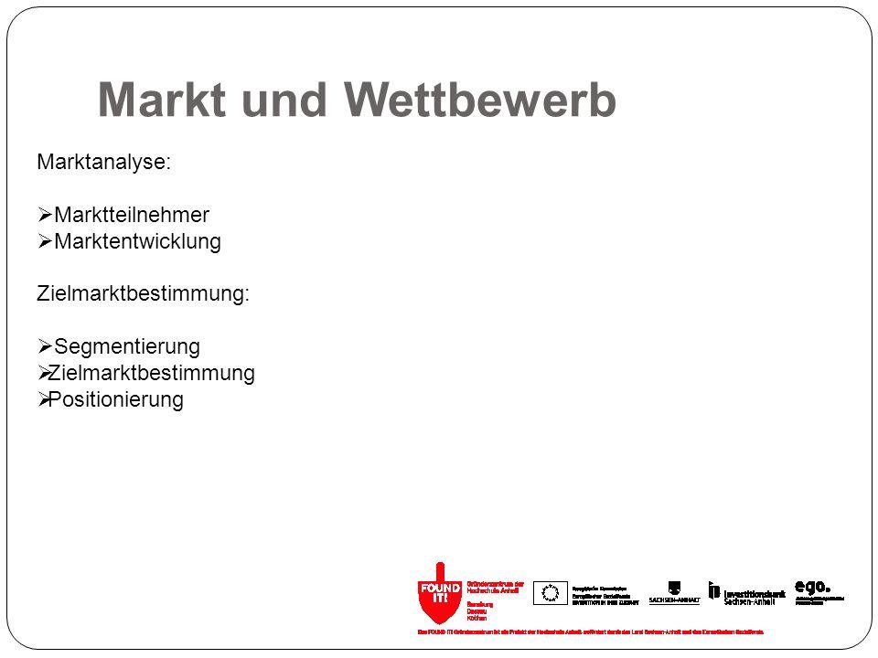 Markt und Wettbewerb Marktanalyse: Marktteilnehmer Marktentwicklung Zielmarktbestimmung: Segmentierung Zielmarktbestimmung Positionierung