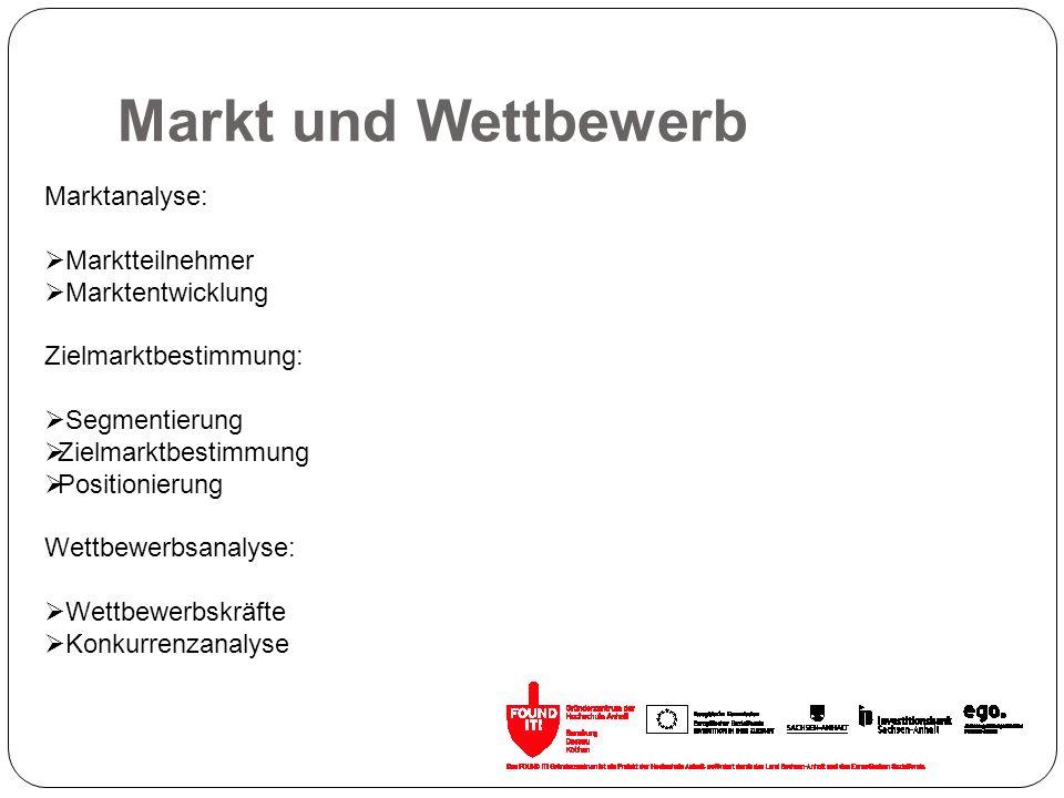 Markt und Wettbewerb Marktanalyse: Marktteilnehmer Marktentwicklung Zielmarktbestimmung: Segmentierung Zielmarktbestimmung Positionierung Wettbewerbsa