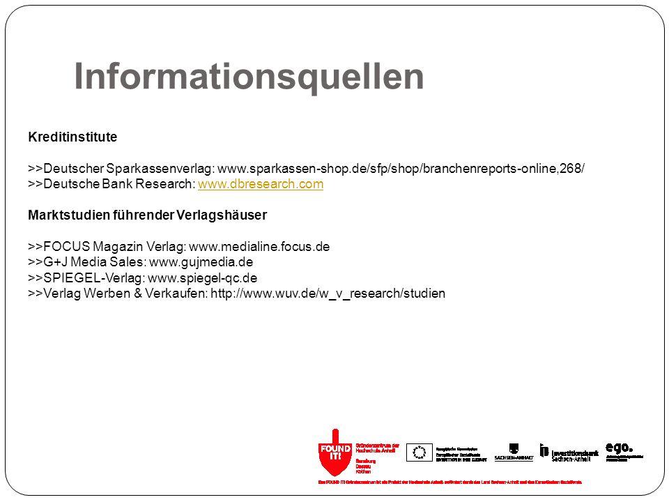 Informationsquellen Kreditinstitute >>Deutscher Sparkassenverlag: www.sparkassen-shop.de/sfp/shop/branchenreports-online,268/ >>Deutsche Bank Research