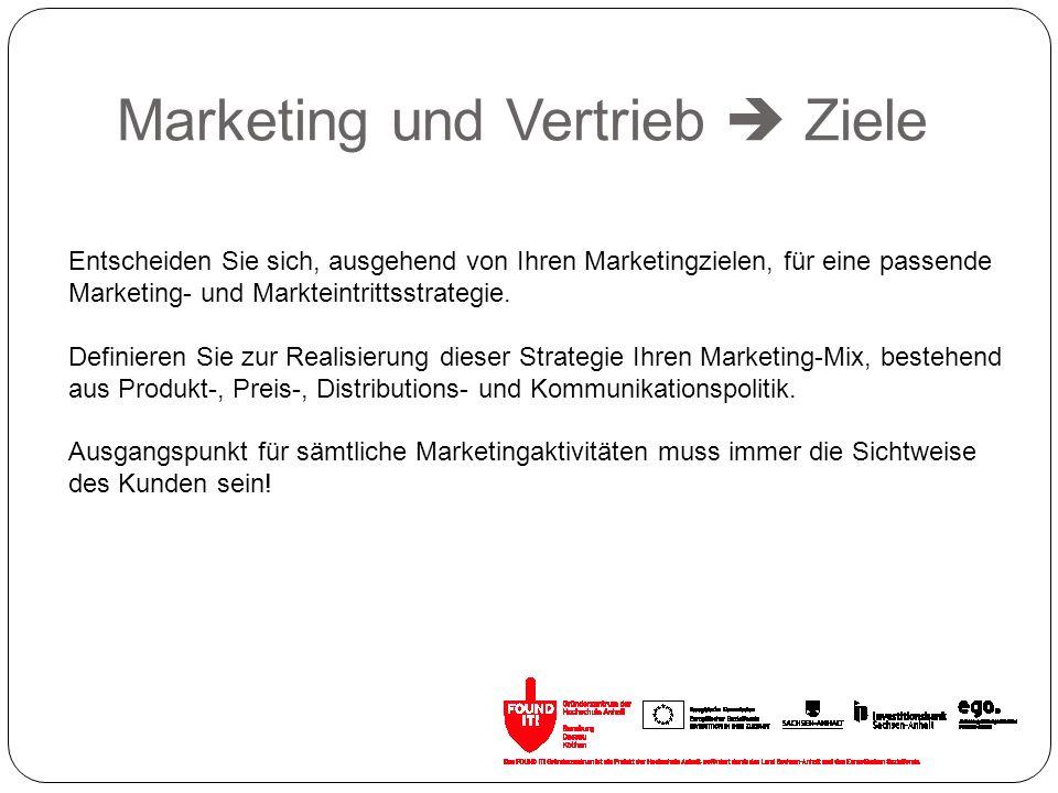 Marketing und Vertrieb Ziele Entscheiden Sie sich, ausgehend von Ihren Marketingzielen, für eine passende Marketing- und Markteintrittsstrategie. Defi