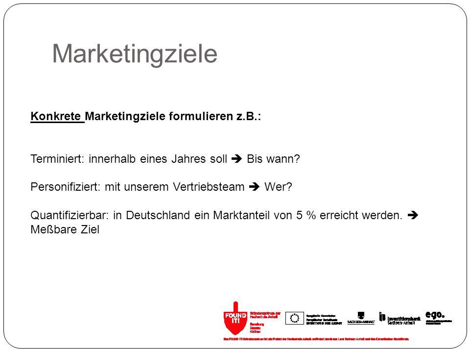 Marketingziele Konkrete Marketingziele formulieren z.B.: Terminiert: innerhalb eines Jahres soll Bis wann? Personifiziert: mit unserem Vertriebsteam W
