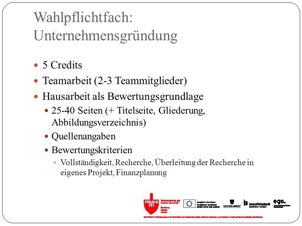 Wahlpflichtfach: Unternehmensgründung 5 Credits Teamarbeit (2-3 Teammitglieder) Hausarbeit als Bewertungsgrundlage 25-40 Seiten (+ Titelseite, Glieder