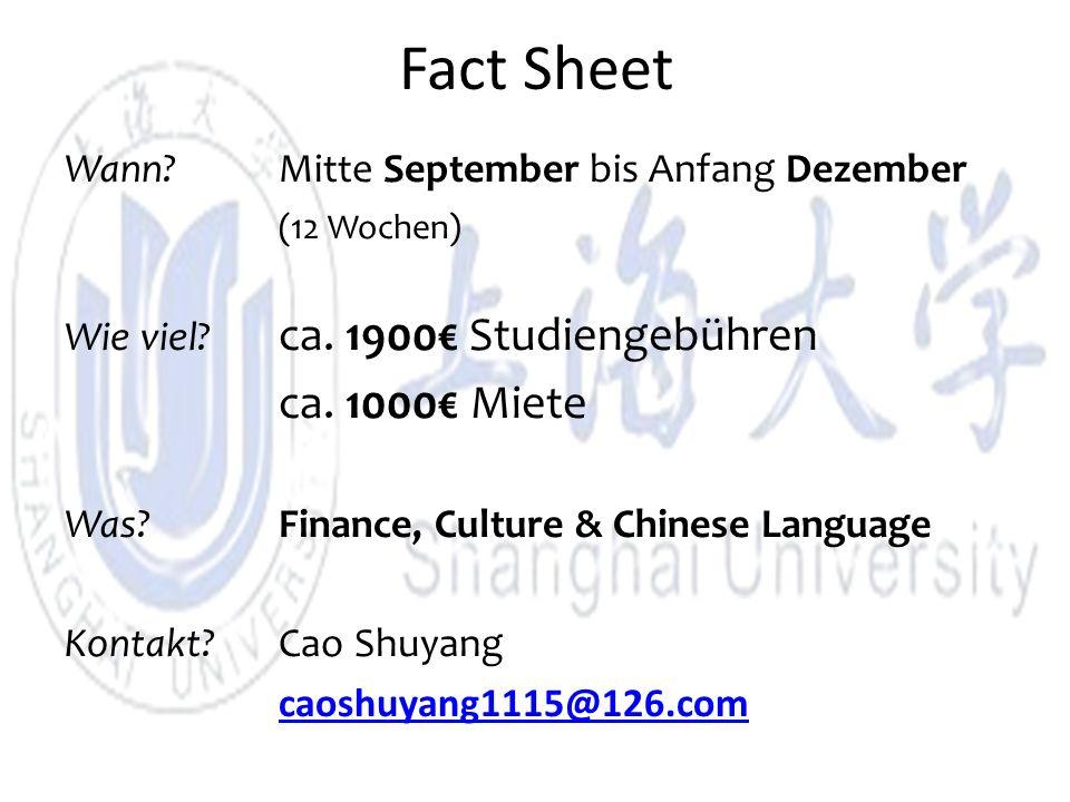 Fact Sheet Wann. Mitte September bis Anfang Dezember (12 Wochen) Wie viel.