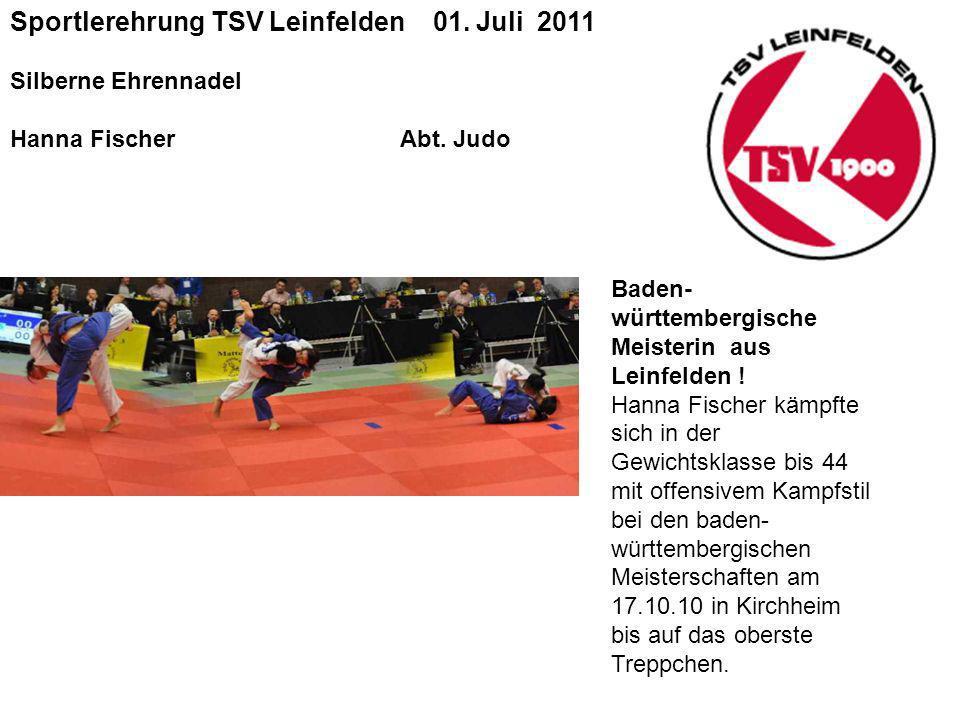Sportlerehrung TSV Leinfelden 01.Juli 2011 Silberne Ehrennadel Hanna Fischer Abt.
