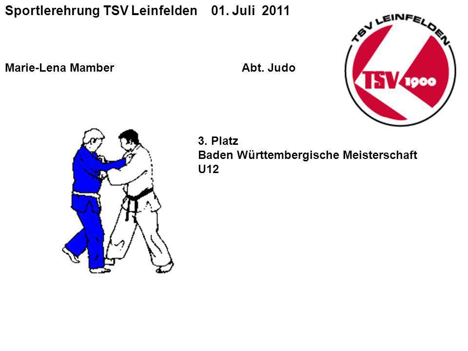 Sportlerehrung TSV Leinfelden 01.Juli 2011 Marie-Lena Mamber Abt.
