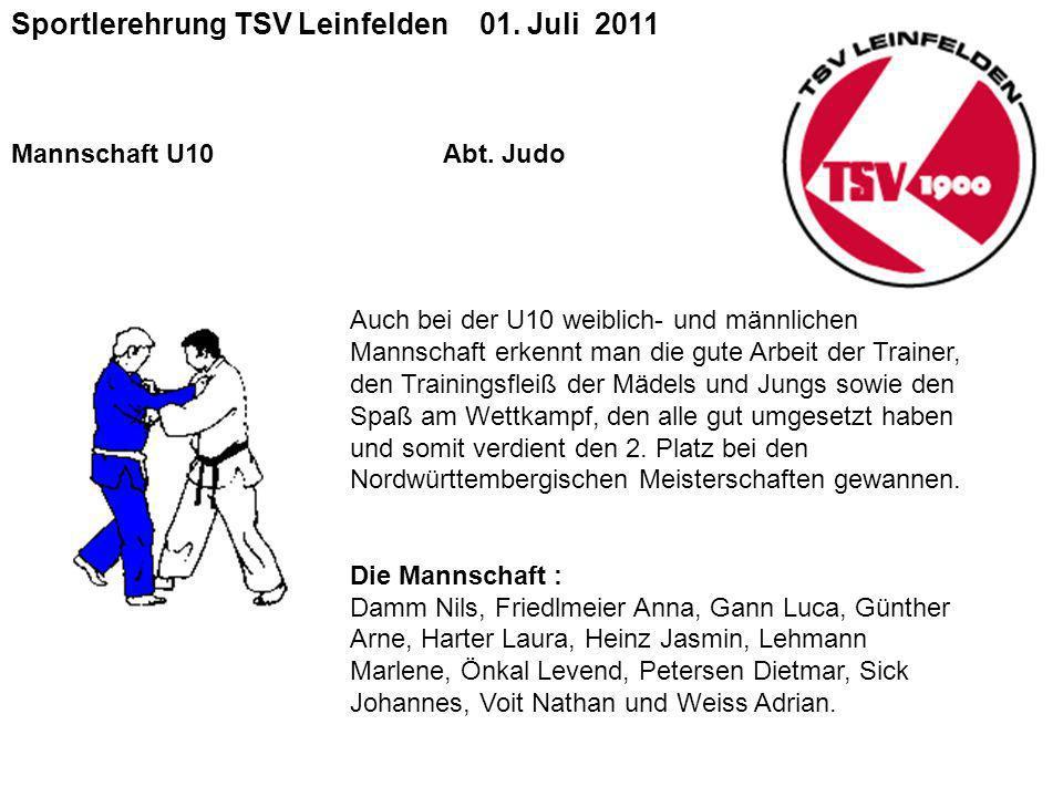 Sportlerehrung TSV Leinfelden 01.Juli 2011 Mannschaft U10 Abt.