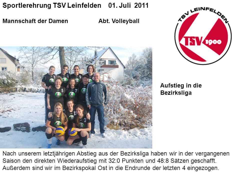 Sportlerehrung TSV Leinfelden 01.Juli 2011 Mannschaft der DamenAbt.