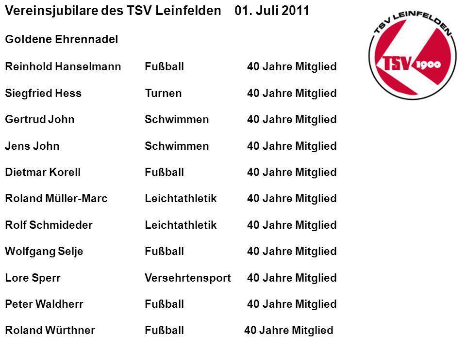 Vereinsjubilare des TSV Leinfelden 01.