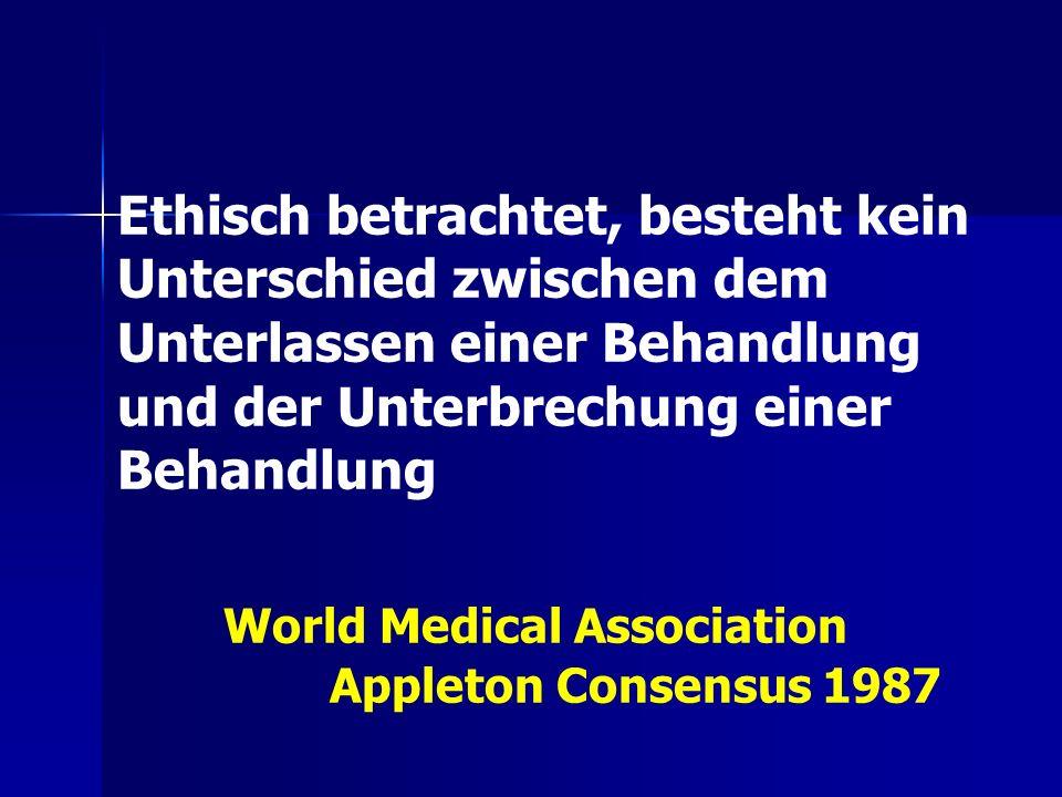 Ethisch betrachtet, besteht kein Unterschied zwischen dem Unterlassen einer Behandlung und der Unterbrechung einer Behandlung World Medical Associatio