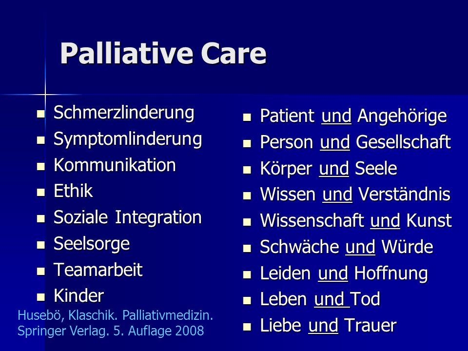 Palliative Care Schmerzlinderung Schmerzlinderung Symptomlinderung Symptomlinderung Kommunikation Kommunikation Ethik Ethik Soziale Integration Sozial