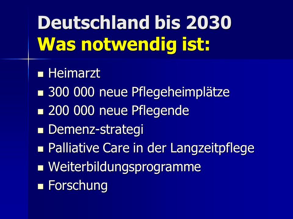 Deutschland bis 2030 Was notwendig ist: Heimarzt Heimarzt 300 000 neue Pflegeheimplätze 300 000 neue Pflegeheimplätze 200 000 neue Pflegende 200 000 n