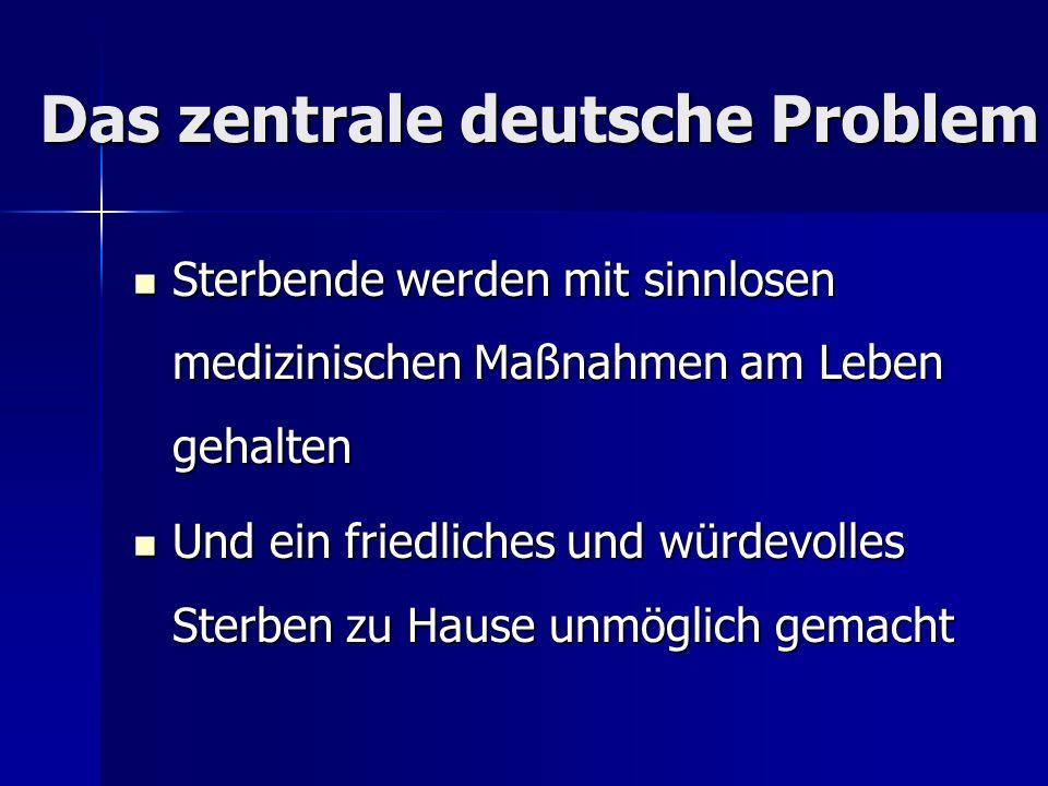 Das zentrale deutsche Problem Sterbende werden mit sinnlosen medizinischen Maßnahmen am Leben gehalten Sterbende werden mit sinnlosen medizinischen Ma