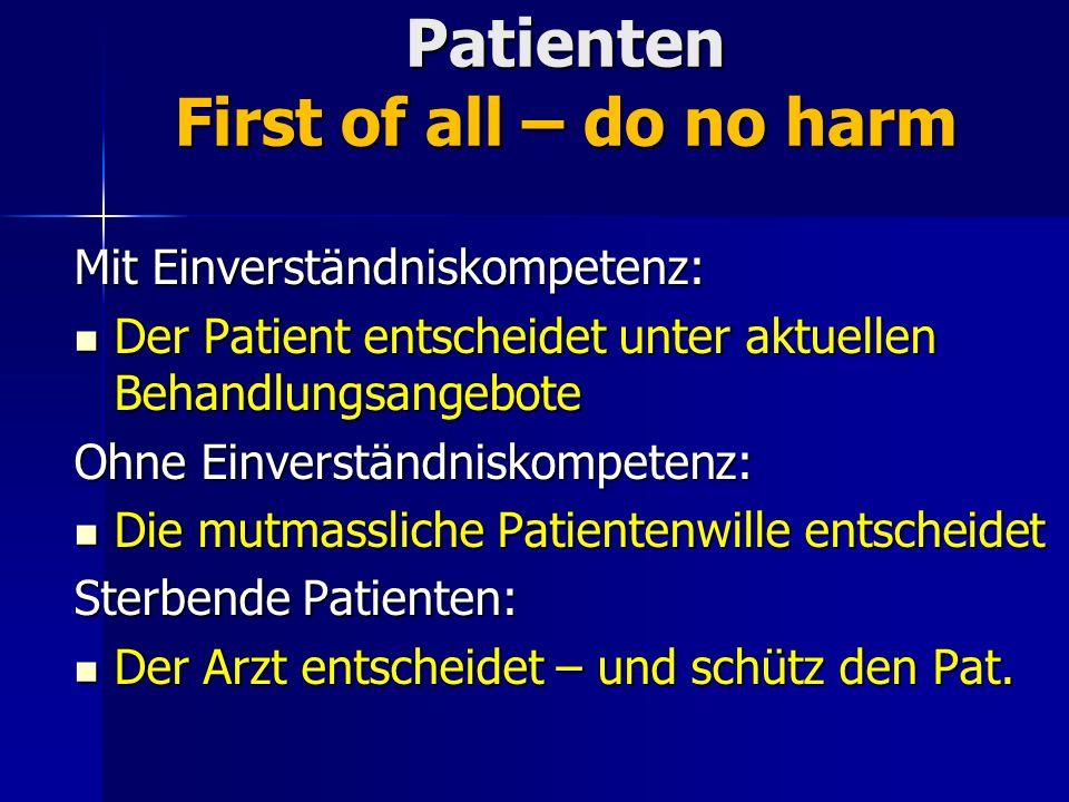 Patienten First of all – do no harm Mit Einverständniskompetenz: Der Patient entscheidet unter aktuellen Behandlungsangebote Der Patient entscheidet u