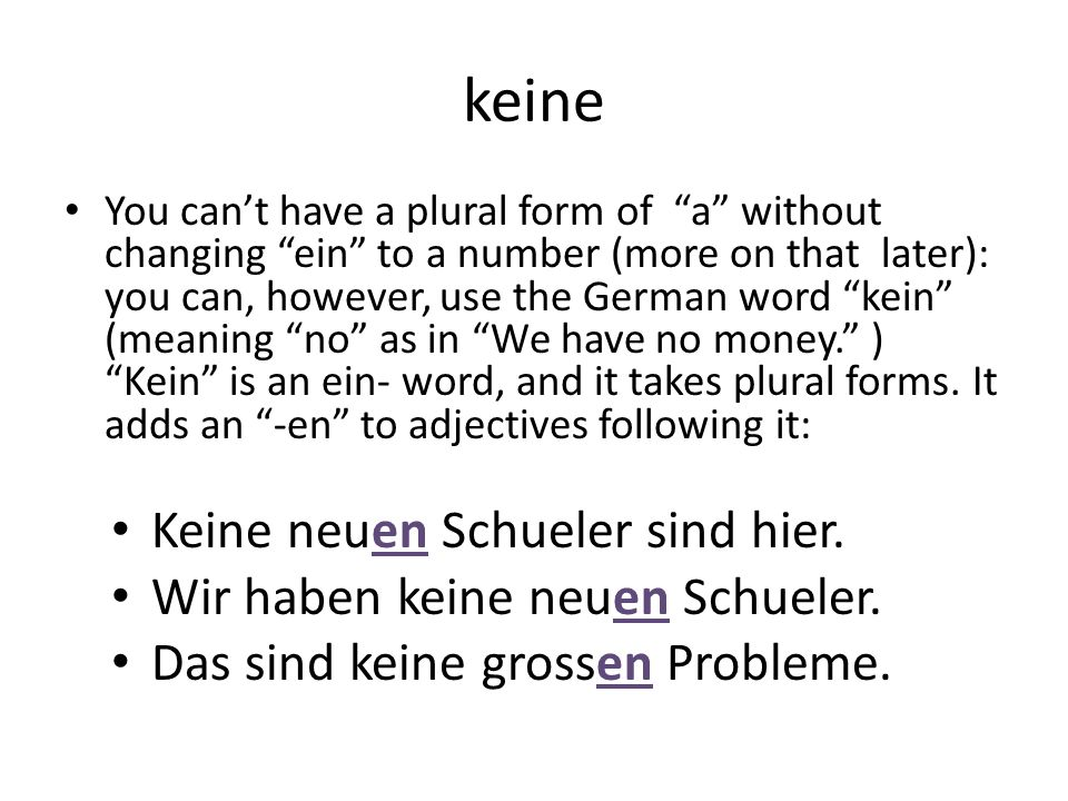 keine You cant have a plural form of a without changing ein to a number (more on that later): you can, however, use the German word kein (meaning no a