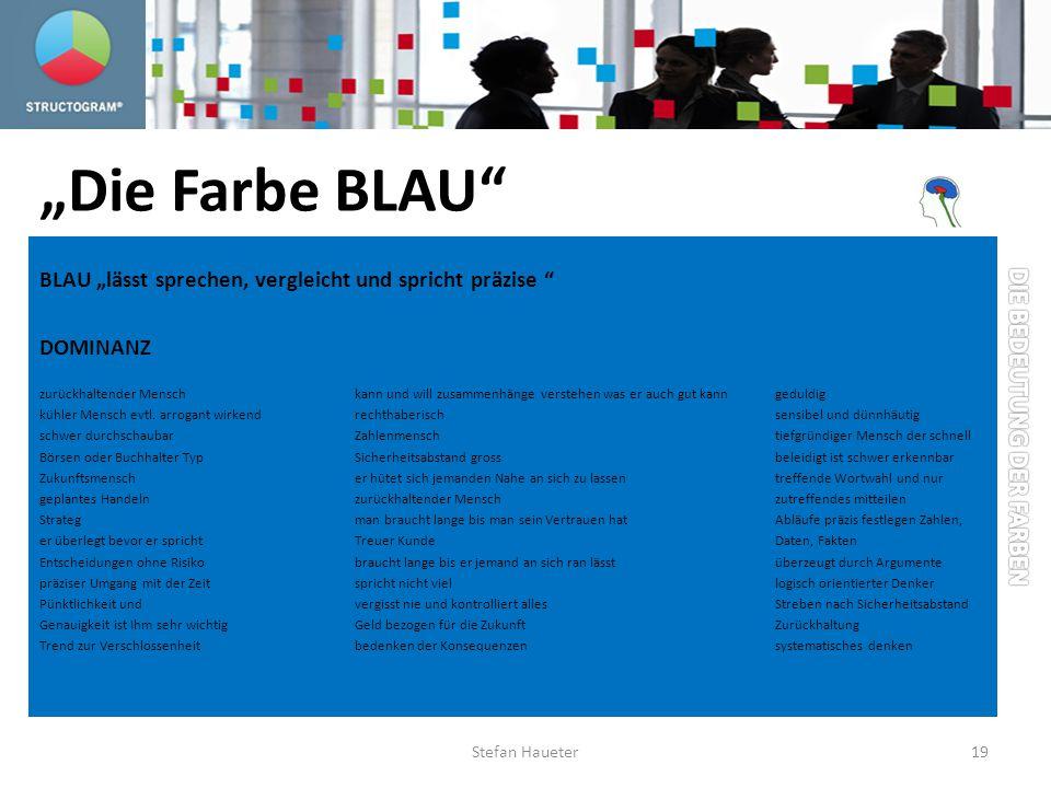Die Farbe BLAU BLAU lässt sprechen, vergleicht und spricht präzise DOMINANZ zurückhaltender Menschkann und will zusammenhänge verstehen was er auch gu