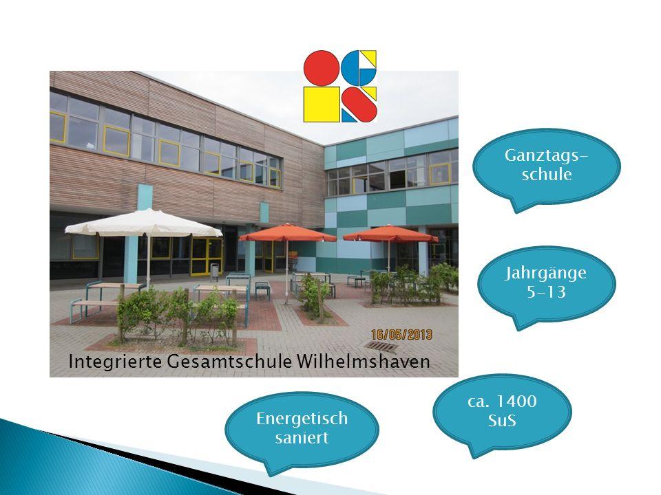 Jahrgänge 5-13 ca. 1400 SuS Energetisch saniert Ganztags- schule Integrierte Gesamtschule Wilhelmshaven
