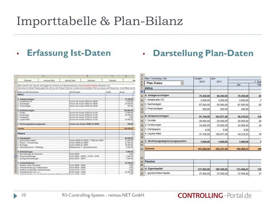 Importtabelle & Plan-Bilanz Erfassung Ist-Daten Darstellung Plan-Daten RS-Controlling-System - reimus.NET GmbH 10