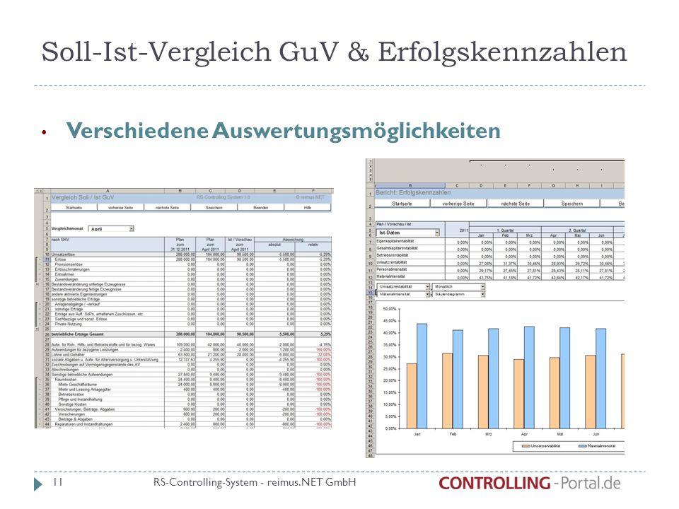 Soll-Ist-Vergleich GuV & Erfolgskennzahlen Verschiedene Auswertungsmöglichkeiten RS-Controlling-System - reimus.NET GmbH 11
