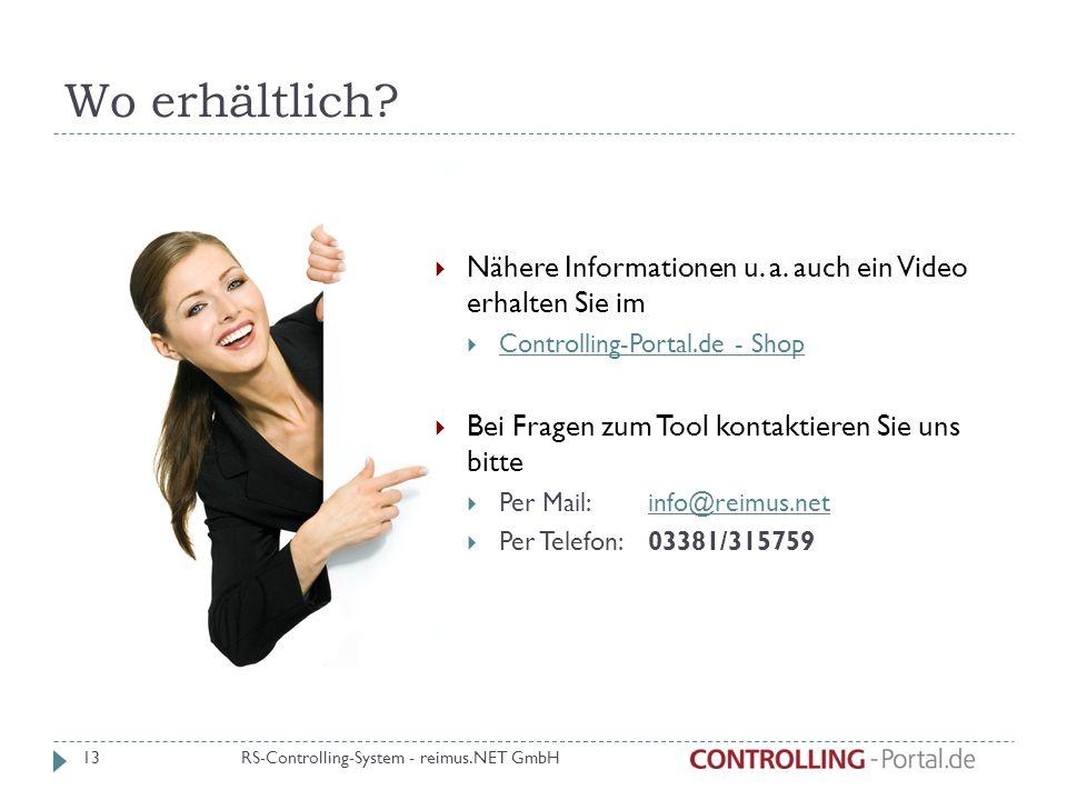 Wo erhältlich? 13 Nähere Informationen u. a. auch ein Video erhalten Sie im Controlling-Portal.de - Shop Bei Fragen zum Tool kontaktieren Sie uns bitt