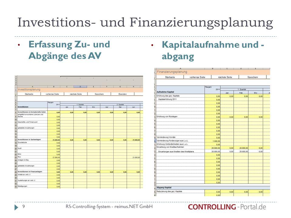 Investitions- und Finanzierungsplanung Erfassung Zu- und Abgänge des AV Kapitalaufnahme und - abgang RS-Controlling-System - reimus.NET GmbH 9
