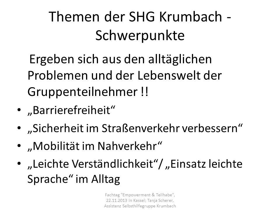 Themen der SHG Krumbach - Schwerpunkte Ergeben sich aus den alltäglichen Problemen und der Lebenswelt der Gruppenteilnehmer !! Barrierefreiheit Sicher