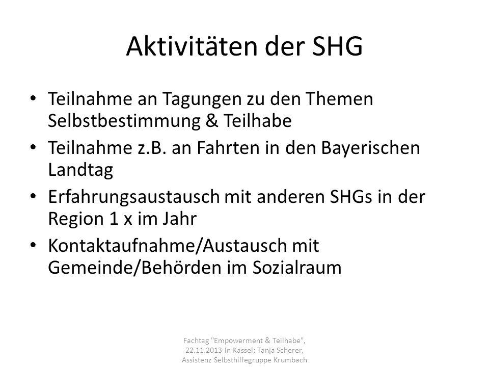 Aktivitäten der SHG Teilnahme an Tagungen zu den Themen Selbstbestimmung & Teilhabe Teilnahme z.B. an Fahrten in den Bayerischen Landtag Erfahrungsaus