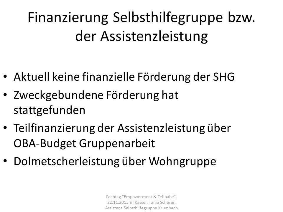 Finanzierung Selbsthilfegruppe bzw. der Assistenzleistung Aktuell keine finanzielle Förderung der SHG Zweckgebundene Förderung hat stattgefunden Teilf