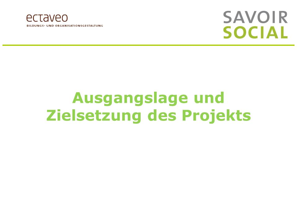 Folie 6 Ausgangslage und Zielsetzungen des Projekts Ausgangslage und Zielsetzung des Projekts