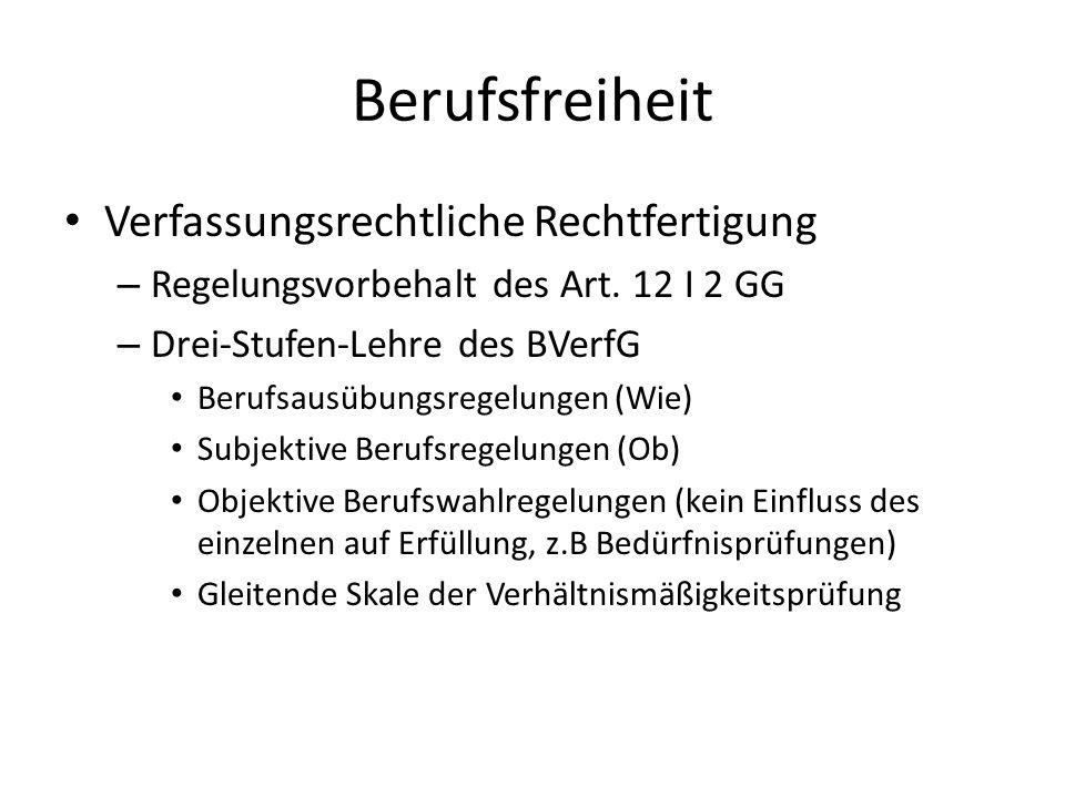Berufsfreiheit Verfassungsrechtliche Rechtfertigung – Regelungsvorbehalt des Art. 12 I 2 GG – Drei-Stufen-Lehre des BVerfG Berufsausübungsregelungen (