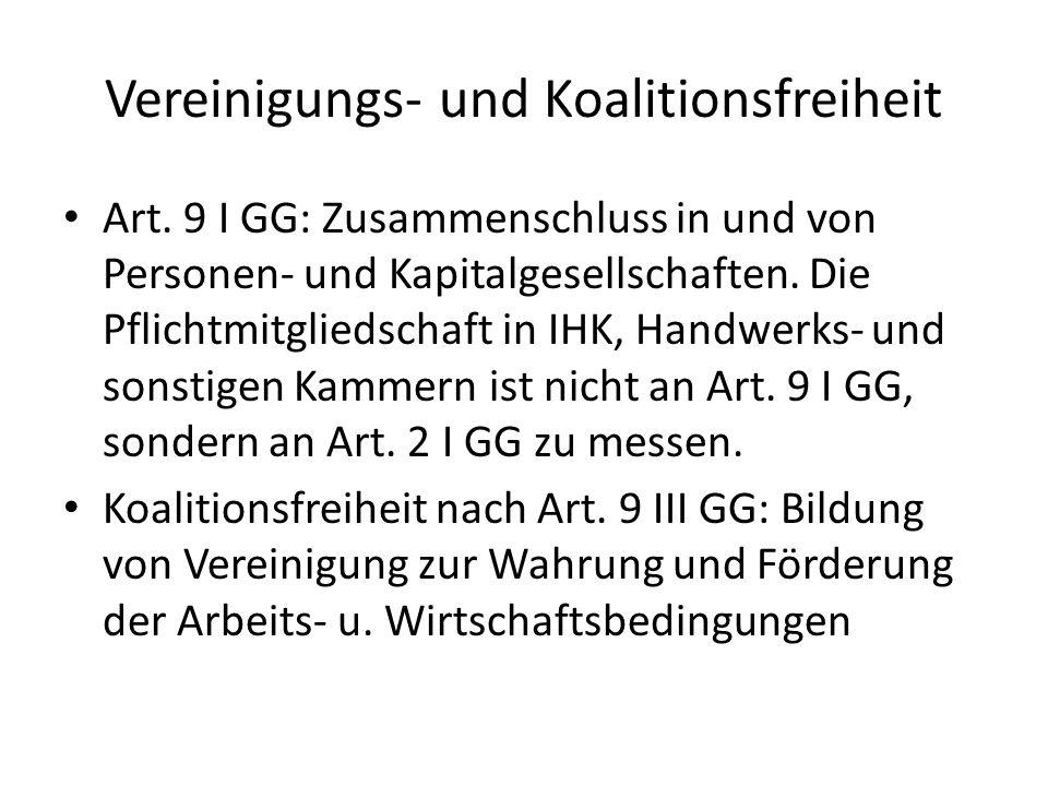 Vereinigungs- und Koalitionsfreiheit Art. 9 I GG: Zusammenschluss in und von Personen- und Kapitalgesellschaften. Die Pflichtmitgliedschaft in IHK, Ha