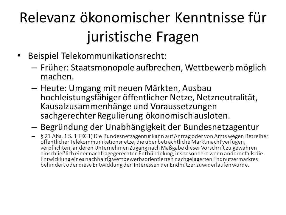 Relevanz ökonomischer Kenntnisse für juristische Fragen Beispiele – Staatliche Intervention in die Preisbildung im Telekommunikationsbereich (§§ 27 ff.