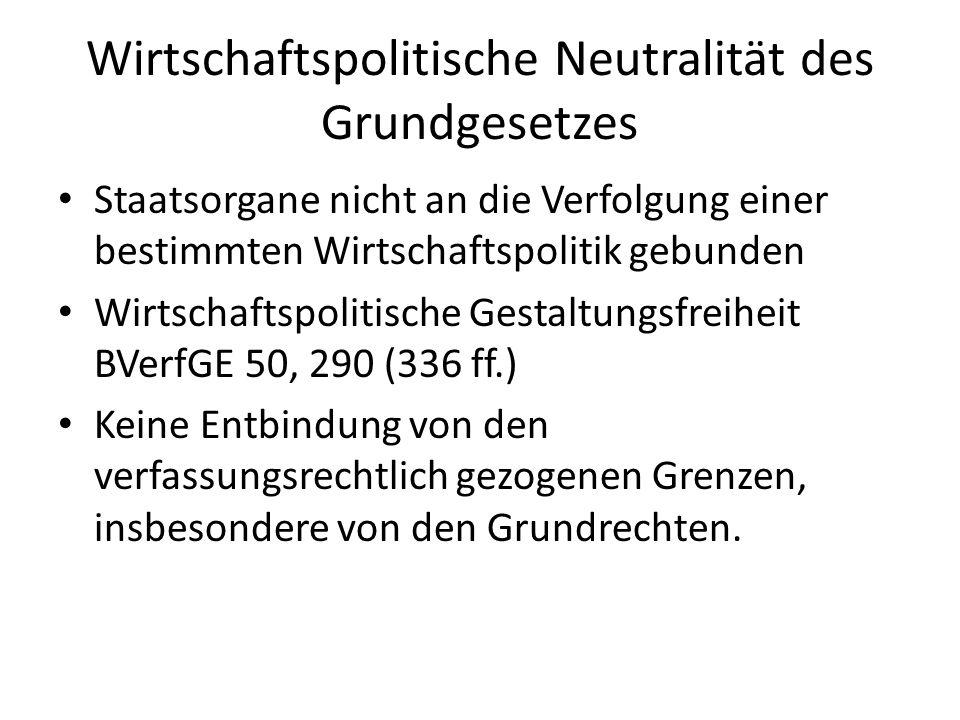 Wirtschaftliche Wertentscheidungen des Grundgesetzes Art.