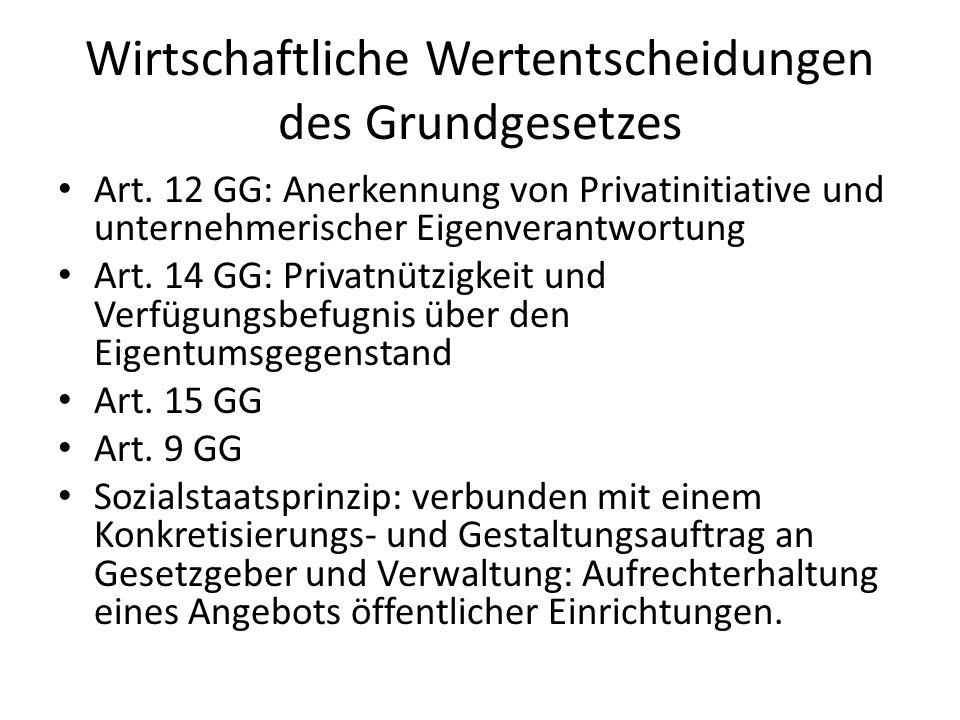 Wirtschaftliche Wertentscheidungen des Grundgesetzes Art. 12 GG: Anerkennung von Privatinitiative und unternehmerischer Eigenverantwortung Art. 14 GG: